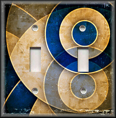Light Switch Plate Cover - Abstract Art - Blue Tan Circles - Home Decor