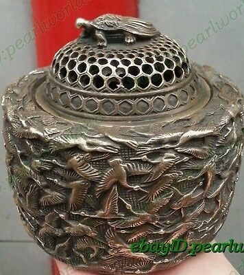 Archaic Bronze carved myriad crane tortoise censer Incense Burners Signed