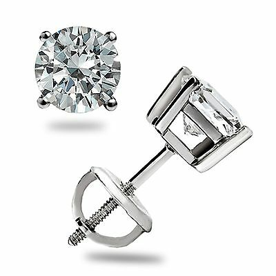 1.10 Ct Brilliant Round Cut Stud Earrings Lab Diamond 14K White Gold Screw back