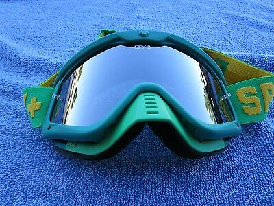 """SPY OPTIC """"WHIP"""" adult men's motocross MX goggles Green w/ Silver Mirrored lens"""