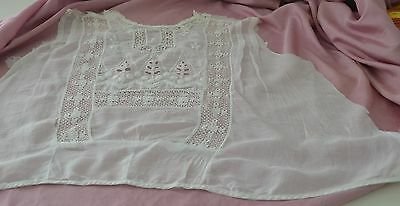 Beautiful Hand Worked Lace And Embroidered White Bodice Piece Rr866