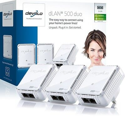 Devolo 9109 Dlan 500 Duo Network Kit With 3 Adapters, Each With 2 Lan Ports