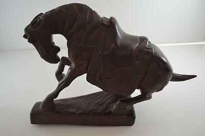 "Vintage Hand Carved Wood Folk Art War Horse 8""(20.3cm) Tall by 11""(27.9cm) Long"