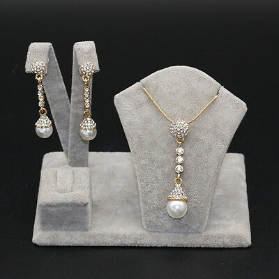 Noble Gold Plated Pearl & Rhinestone Crystal Long Pendant Necklace & Earring Set