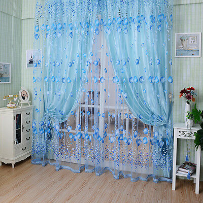 Floral Tulle Voile Door Window Curtain Drape Panel Sheer Scarf Valances Divider