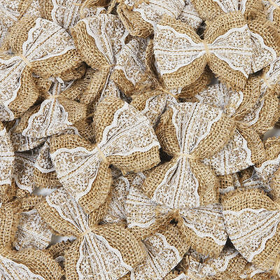 100 Natural Jute Burlap Ribbon Linen Bow Lace Trim Rustic Wedding Decoration