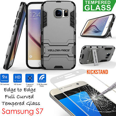 9H Full Cover HD Tempered Glass Film Screen Protector + Case For Galaxy S7 Edge
