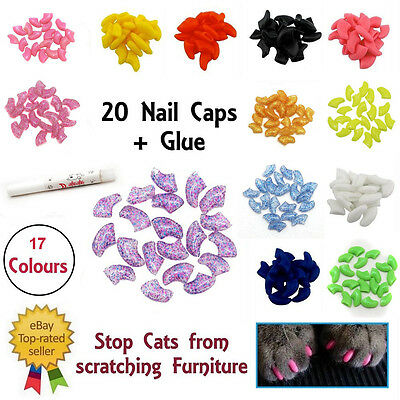 Lovely 20pcs Cat Nail Covers Pet Claw Paws Caps Adhesive Glue Animal Protection