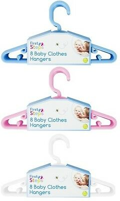 Baby Kids Small Coat Clothes Hangers Plastic Wardrobe Hanger Pink Blue 8 Or 16