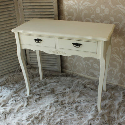 Cream 2 Drawer Wooden Console Dressing Table Shabby French Chic Hall Bedroom