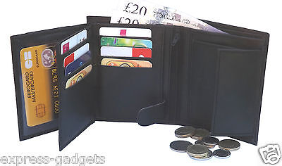 Mens RFID BLOCKING Real Leather Wallet Credit Card Holder Coin Purse 503 Black