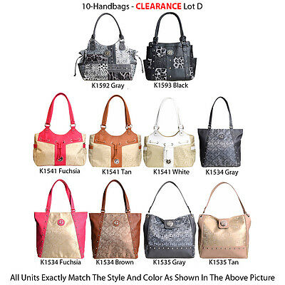 Wholesale Lot - 10 Women's G-Style Handbags - Totes Satchels Purses
