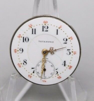Vintage Tavannes 7j Pocket Watch Movement For Parts or Repair AS IS