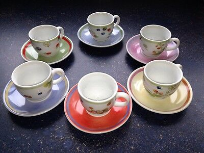 Lovely TOGNANA Espresso Coffee Set Of 6 cups & saucers Porcelain-FRAGOLE