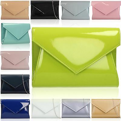 Medium Women Clutch Patent Leather Gloss Ladies Prom Evening Envelope Party Bags