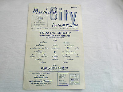 1958-59 CENTRAL LEAGUE RESERVES MANCHESTER CITY v LEEDS UNITED