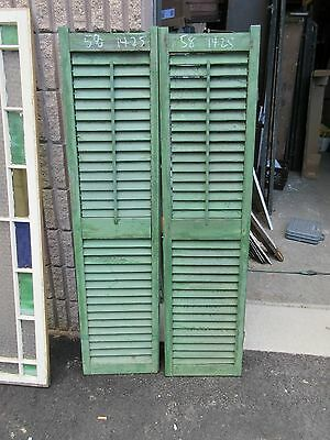 """PaiR c1900 antique victorian louvered house window SHUTTERS green 58"""" H x 14"""" W"""