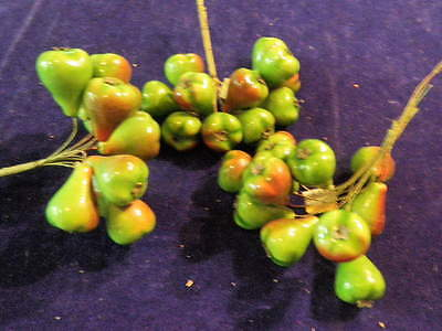 "Vintage Millinery Flower Fruit Collection  1 1/4"" Pears Made in Germany H882"