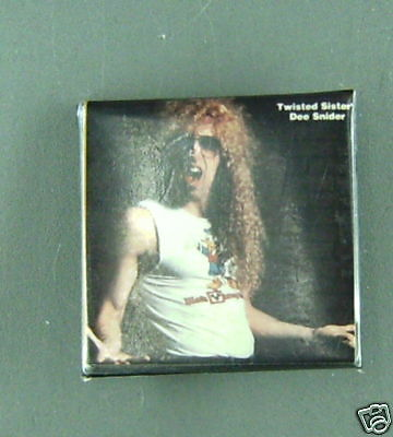 RARE VINTAGE TWISTED SISTER  Dee Snider square pin CONDITION NEW