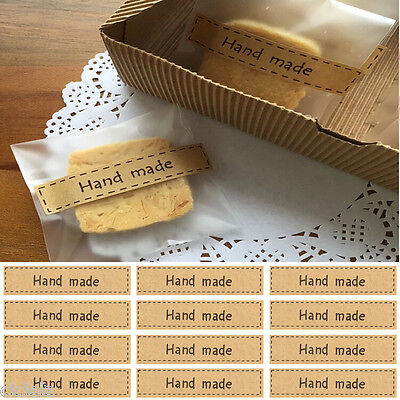 "Utility Lots 80Pc ""Hand Made"" Self Adhesive Stickers Kraft Seal Paper Label Gift"