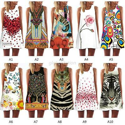 Womens Summer Beach Sexy Floral Sleeveless Party Dress Casual Loose Mini Dresses