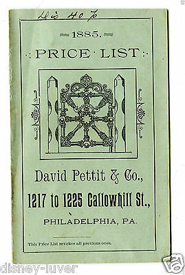 Vintage Advertising DAVID PETTIT & CO Cemetery Lot Enclosures 1885 Price List