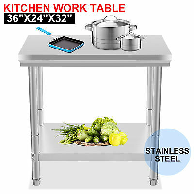 "Stainless Steel Commercial Kitchen Work Food Prep Table 24"" x 36"" Restaurant New"