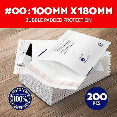 200X #00 Bubble Padded Bag 100X180mm Mailer Envelope White Printed Size 00