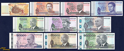 Cambodia Set Of 10 Banknote Current From 50 To 100000 Riels Crisp Unc Complete
