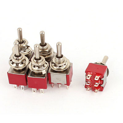 6 Pcs ON-OFF-ON 3 Position DPDT Momentary Toggle Switch AC 120V/5A 250V/2A Red