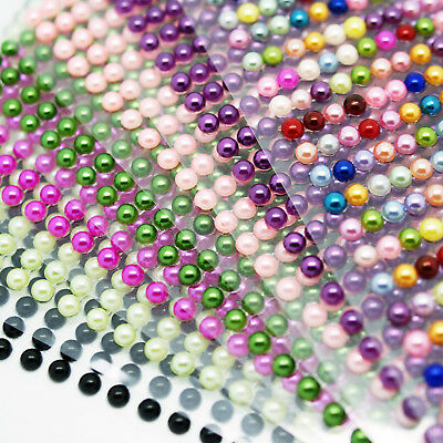 PEARL STICKER SHEET half pearl flat back strips 3 4 5 6mm self adhesive gems 3D