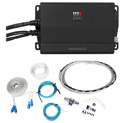 MB QUART NA1-400.2 400 Watt RMS 2-Ch. Marine Boat ATV Compact Amplifier+Amp Kit