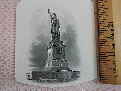 1900s ENGRAVED Patriotic STATUE of LIBERTY American Banknote ABNC Artwork USA #5