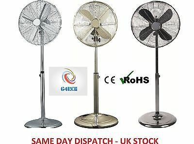 40cm Chrome Floor Remote Fan 50W Oscillating 3 Speeds Metal Blades Stand Fan UK