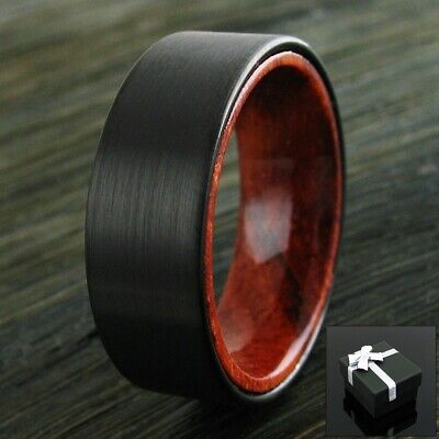 8mm Black Brushed Tungsten Red Sandal Wood Band Ring Men's Wedding Jewelry