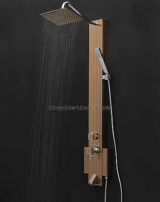 "50"" Shower Spa Tower Panel Rainfall Style Handheld Wand Stainless Steel System"