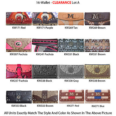 Wholesale Lot - 16 Women's Vintage G-Style Clutch Wallets Wristlets