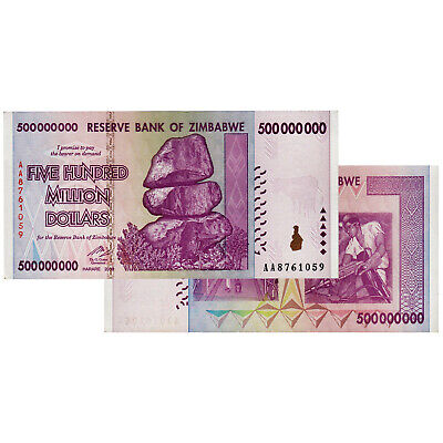 ZIMBABWE 500 MILLION DOLLARS BANKNOTE UNCIRCULATED UNC AA or AB 2008 FROM BUNDLE
