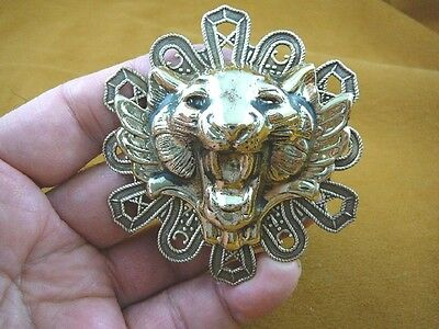 (B-LION-750) Lion head roaring + teeth Big cat scrolled circle brass pin pendant