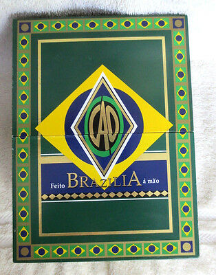 Cao Brazilia Gol! Green Split Top Open Paper Covered Wood Cigar Box-Beautiful!