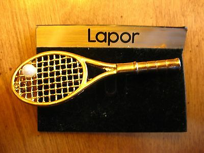 Tennis Racket With Pearl  Brooch Pin