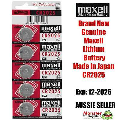 5 Pcs Cr2025 3V Lithium Button Coin Battery Made In Japan For Watch New