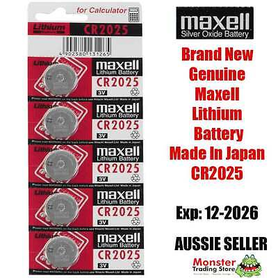 5 Pcs Maxell Cr2025 3V Lithium Button Coin Battery Made In Japan For Watch New