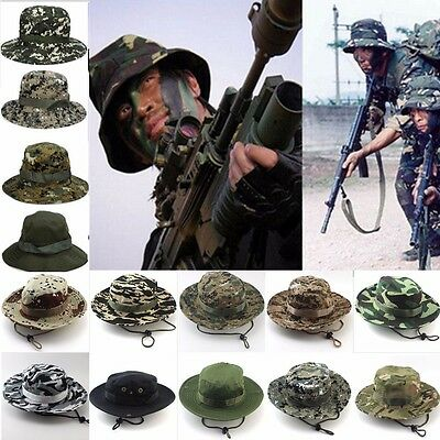 Men Hiking Boonie Brim Military Mesh Fishing Outdoor Bucket Hat Canvas Camo Cap