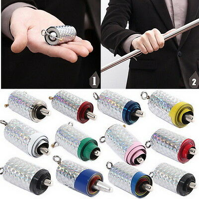 Appearing Cane Metal Silver Magic Tricks Close Up Illusion Silk to Wand Prop QW