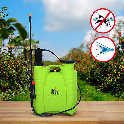 HOMCOM Professional 16L Backpack Poly Sprayer Lawn Pest Control Equipment Green