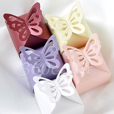 50 / 100pcs Butterfly Pattern Wedding Party Favor Gift Box Ribbon Candy Boxes