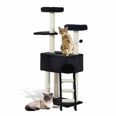 "PawHut 61"" Cat Tree Scratcher Condo Climbing Post Kitty Tower House W/ Toy Ball"