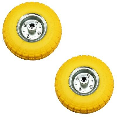 """2 x 10"""" Puncture Burst Proof Solid Rubber Sack Truck Trolley Wheels Spare Tyres"""