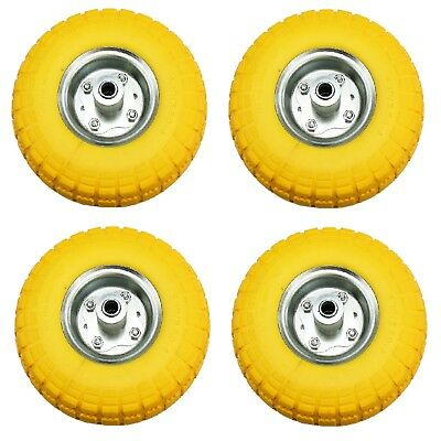 """4 x 10"""" Puncture Burst Proof Solid Rubber Sack Truck Trolley Wheels Spare Tyres"""